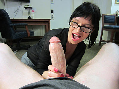 Loads of cum on glasses at CumBlastCity.com