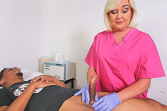 The Sperm Bank - MILF NURSE Handjobs Patient at Over40HandJobs.com