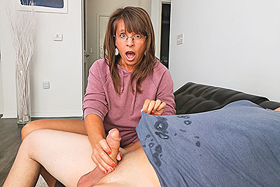 Step-mom caught me masturbating at Over40HandJobs.com