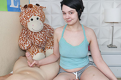 First time teen tugs cock